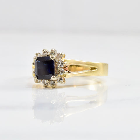 Sapphire and Diamond Halo Ring | 0.18 ctw SZ 6.5 |