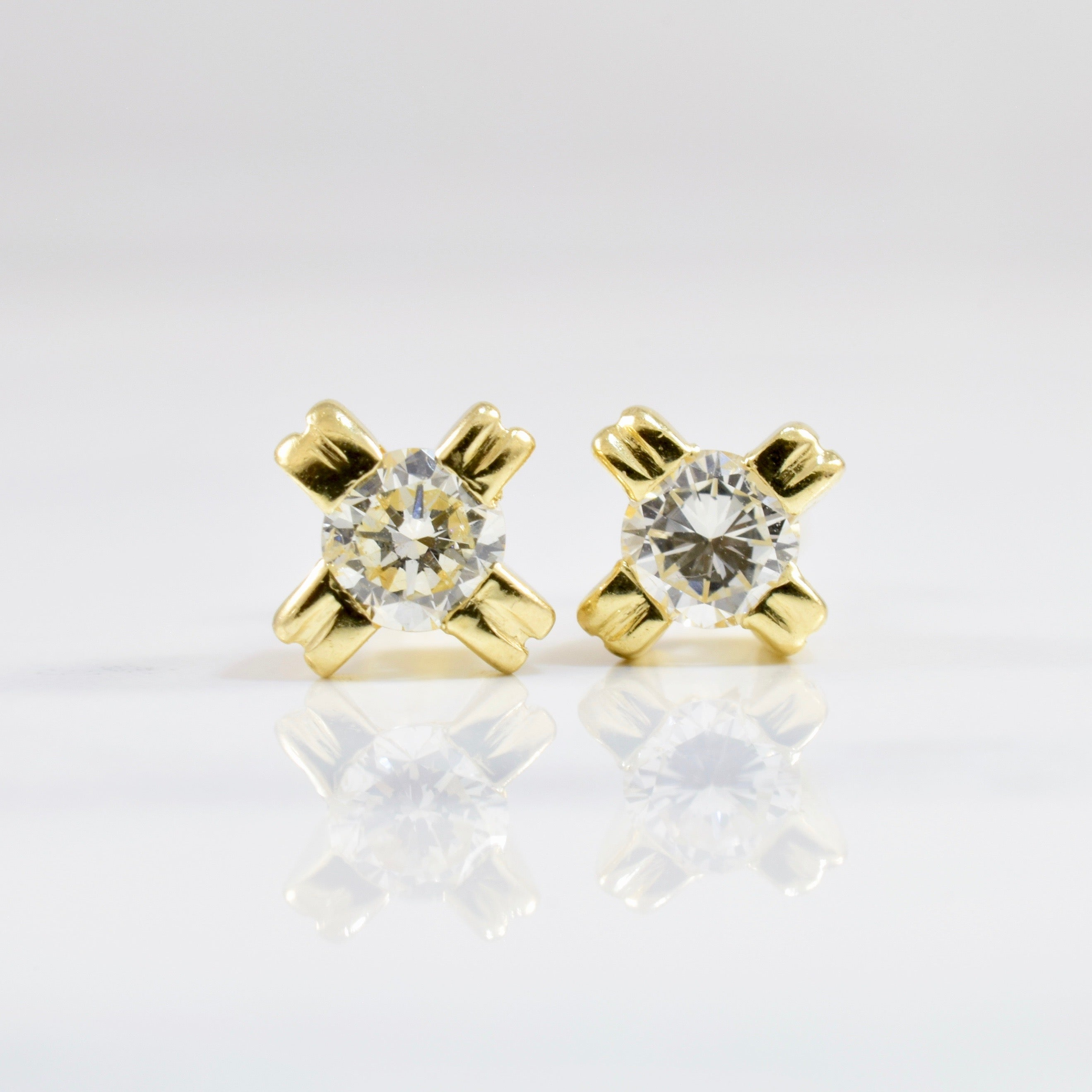 Double Prong Diamond Stud Earrings | 0.34 ctw |