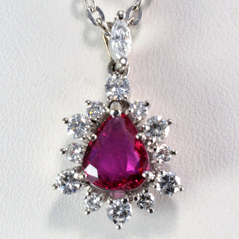 Elegant Pear Ruby & Diamond Drop Pendant Necklace | 0.60 ctw |