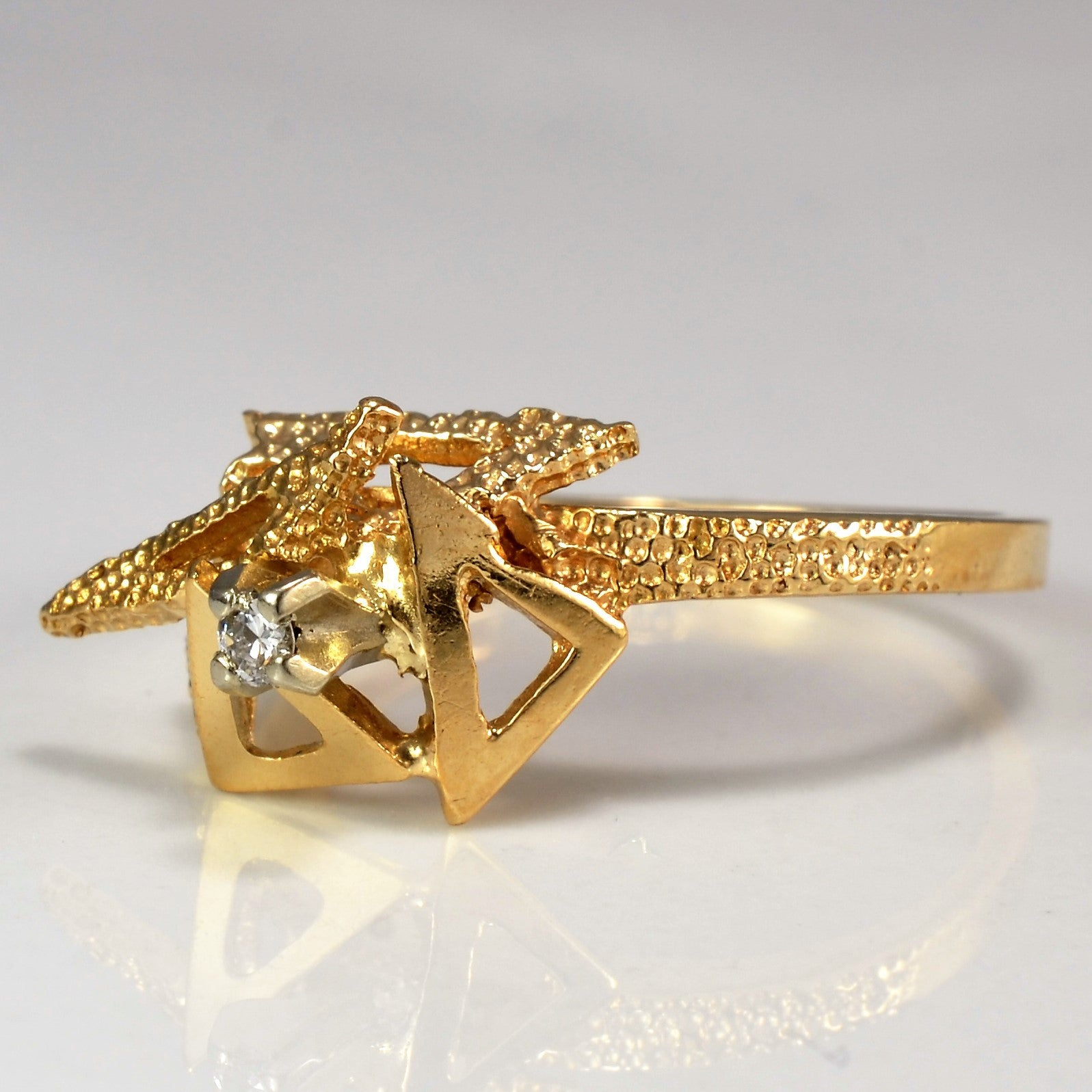 Abstract Textured Diamond Ring | 0.03 ct, SZ 6.25 |