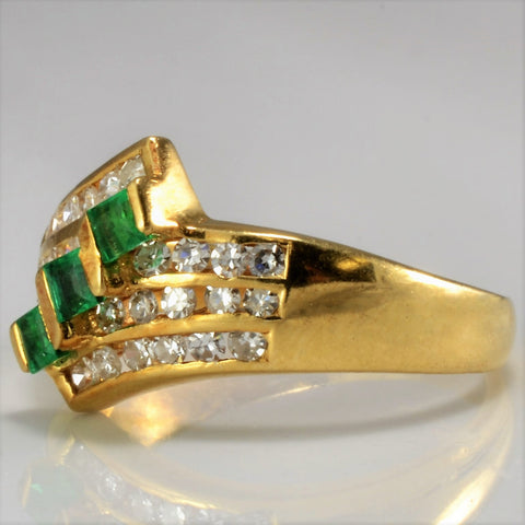 Multi Channel Diamond & Emerald Ring | 0.35 ctw, SZ 5.75 |