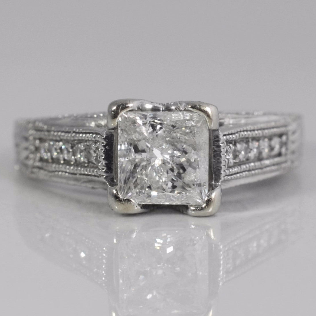 Milgrain Detailed Princess Engagement Ring | 1.83 ctw, SZ 7.5 |