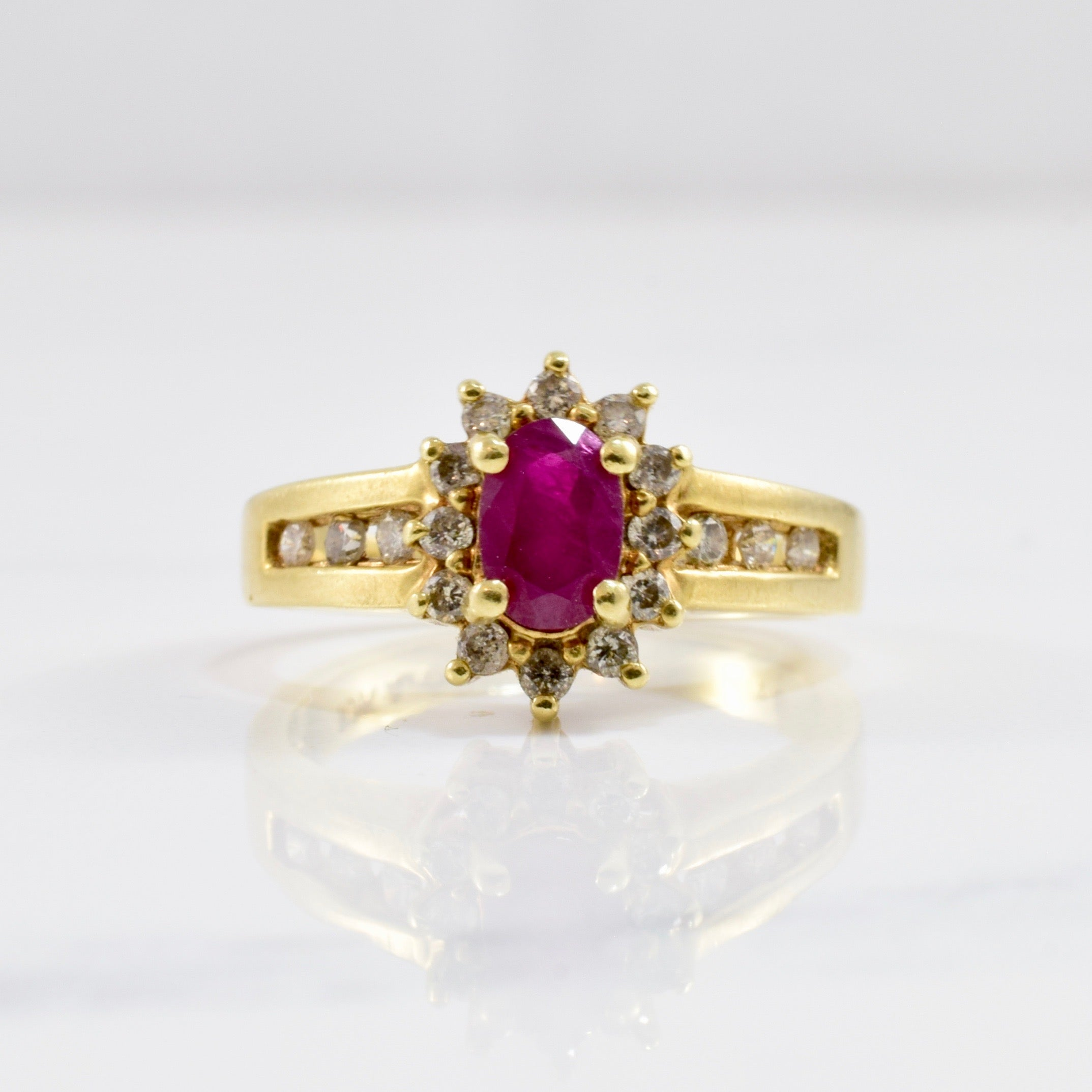 Ruby and Channel Set Diamond Ring | 0.20 ctw SZ 5 |