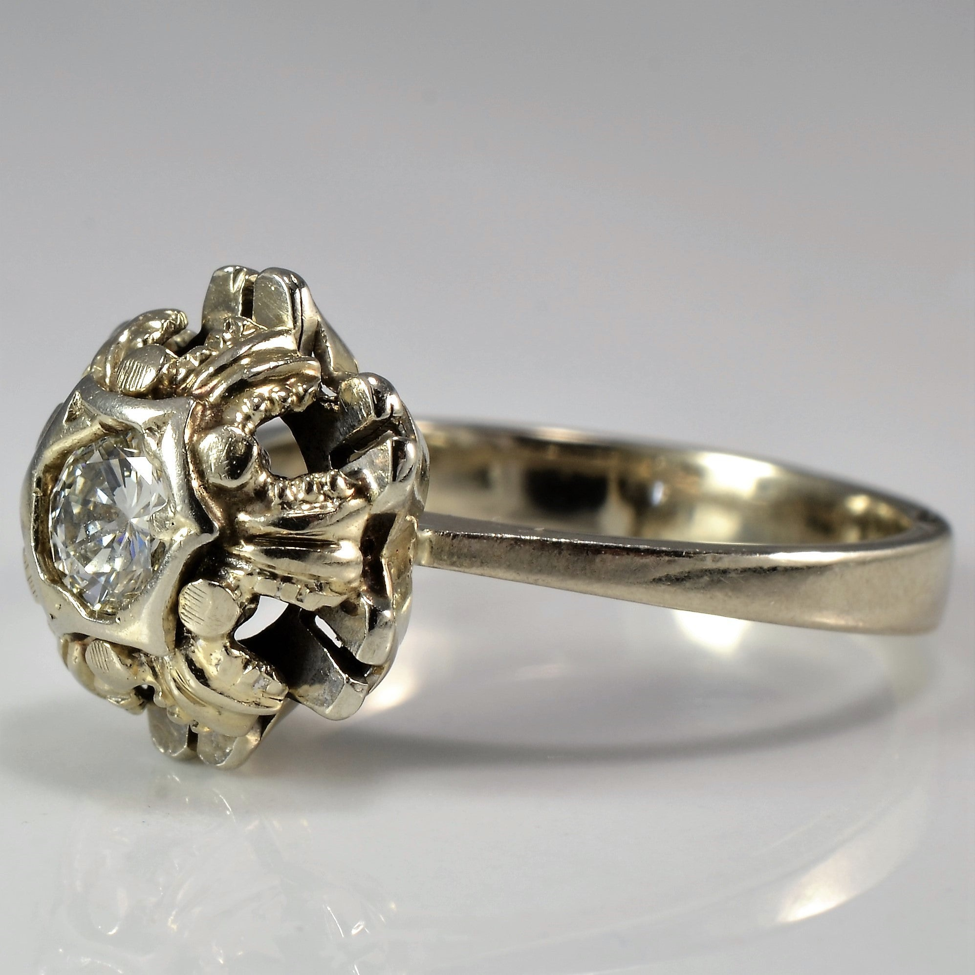 Floral Cushioned Diamond Ring | 0.30 ct, SZ 6 |