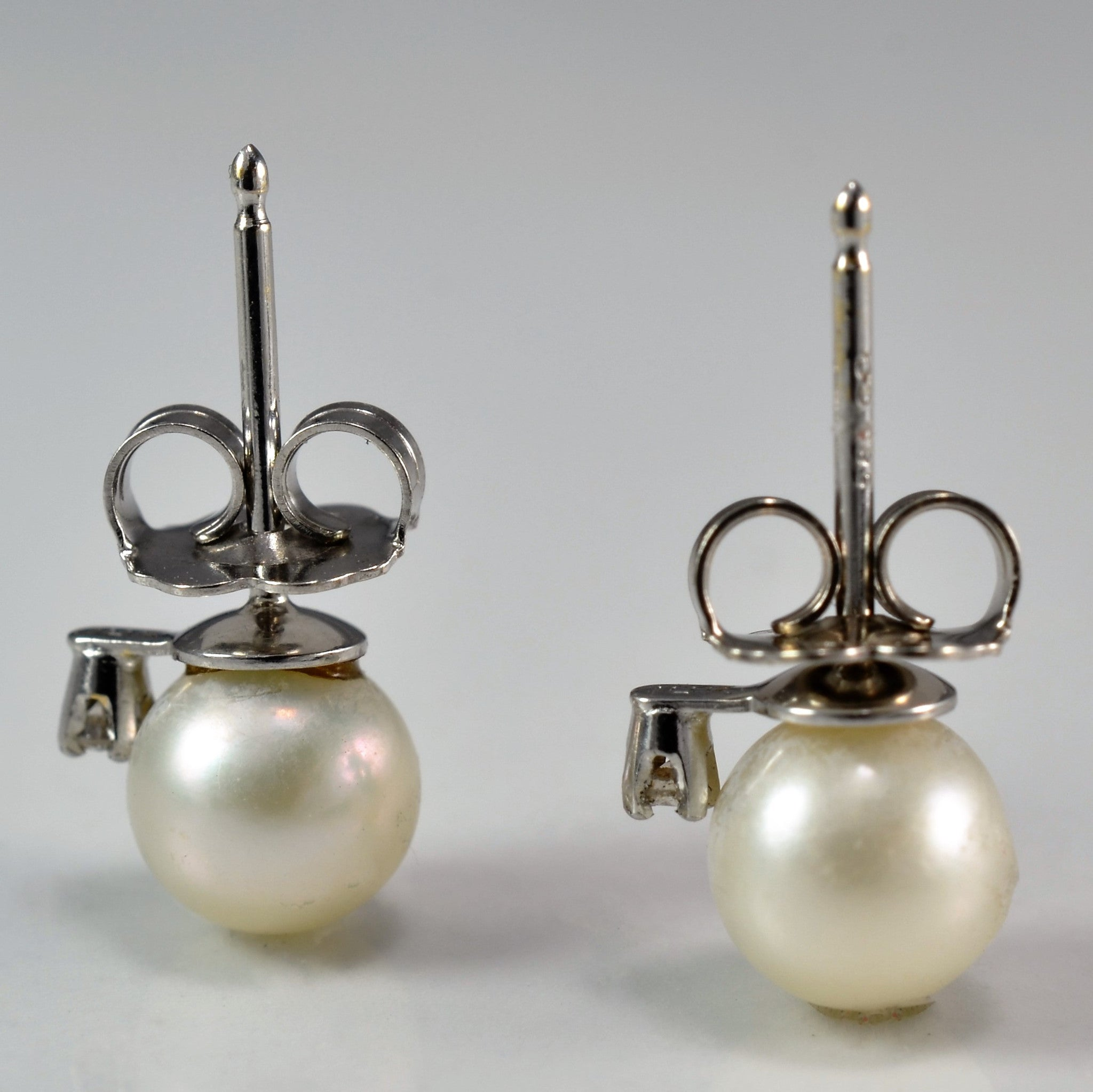 Diamond Accented Pearl Stud Earrings | 0.02 ctw |