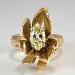 Unique Custom Made Flower Design Marquise Diamond Ring | 0.89 ct, SZ 7 |