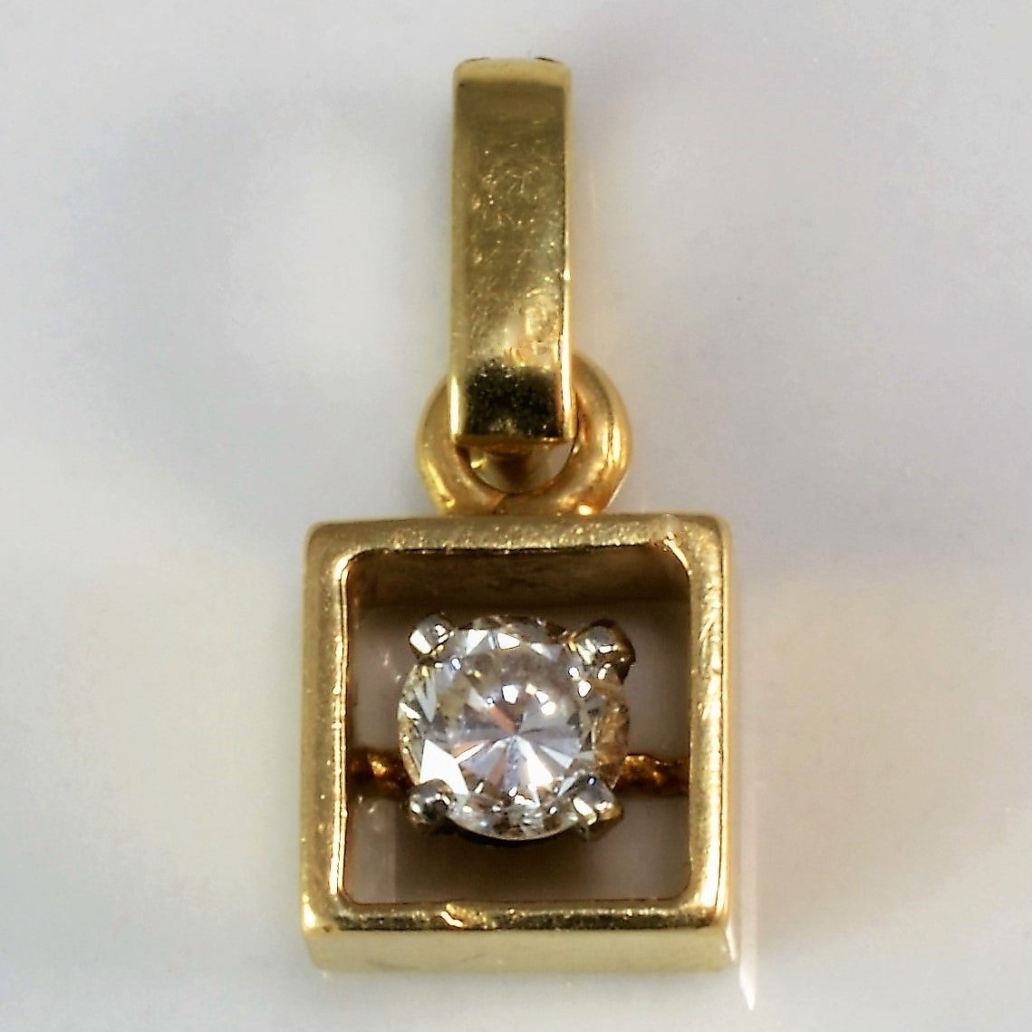 Open Square Diamond Solitaire Pendant | 0.20 ct |