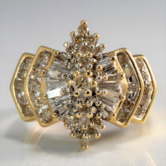 Classic Marquise Shaped Diamond Cluster Ring | 0.71 ctw, SZ 8 |