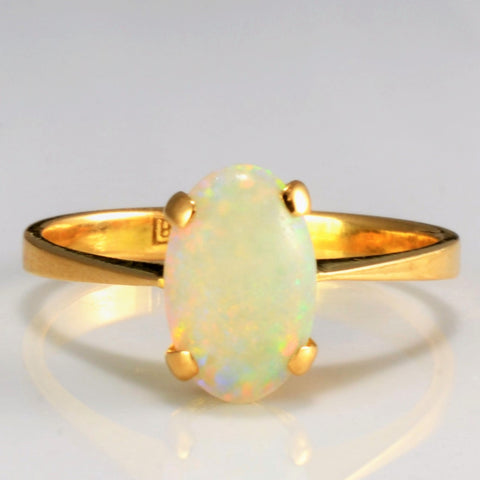 18K Gold Solitaire Opal Ring | SZ 6.75 |