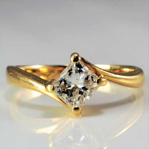 Elegant Princess Diamond Bypass Engagement Ring SZ 4.75