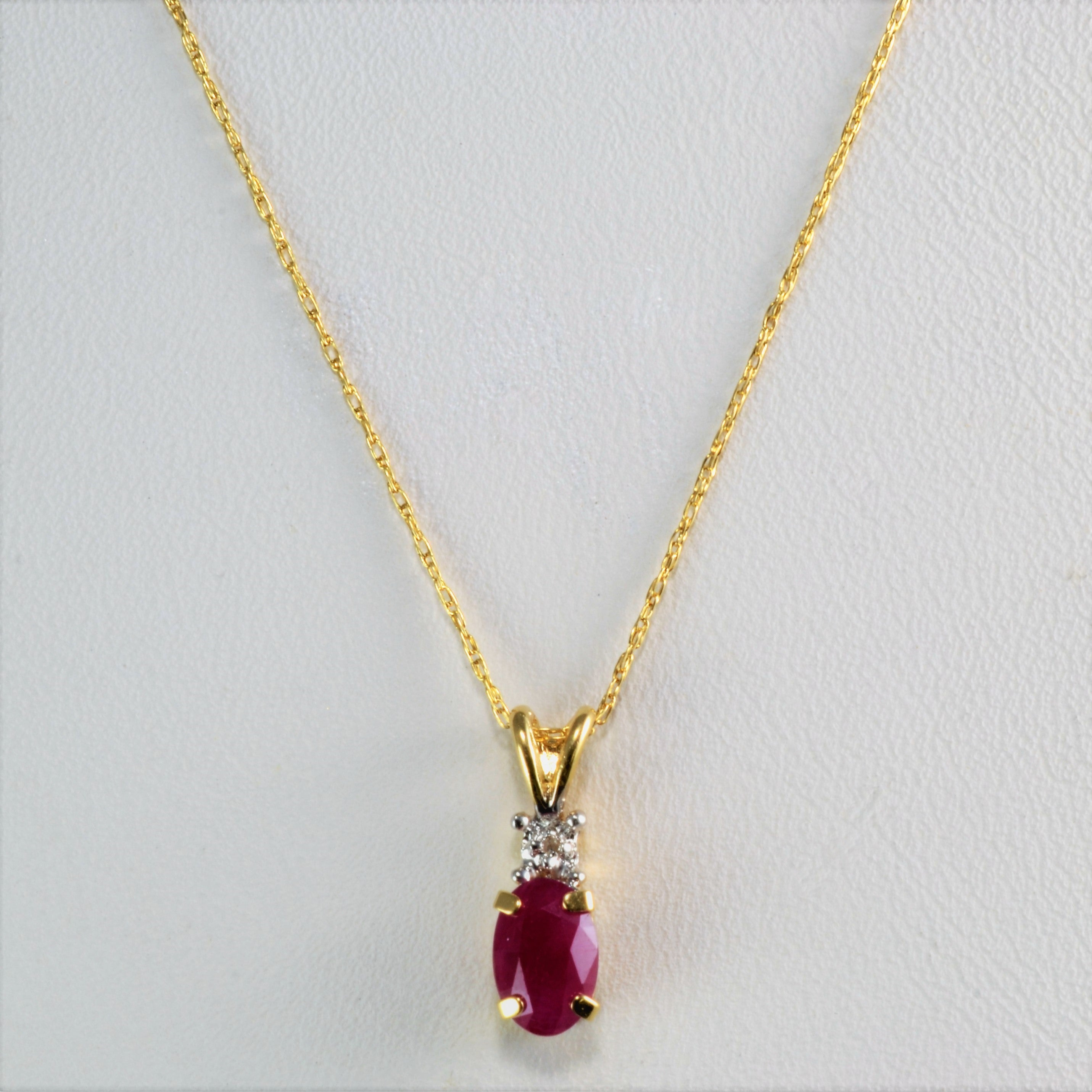 Oval ruby diamond drop pendant necklace 18 100 ways oval ruby diamond drop pendant necklace 18 aloadofball Choice Image