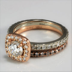 Two Tone Halo Engagement Ring With Wedding Band | 1.28 ctw, SZ 5.5 |