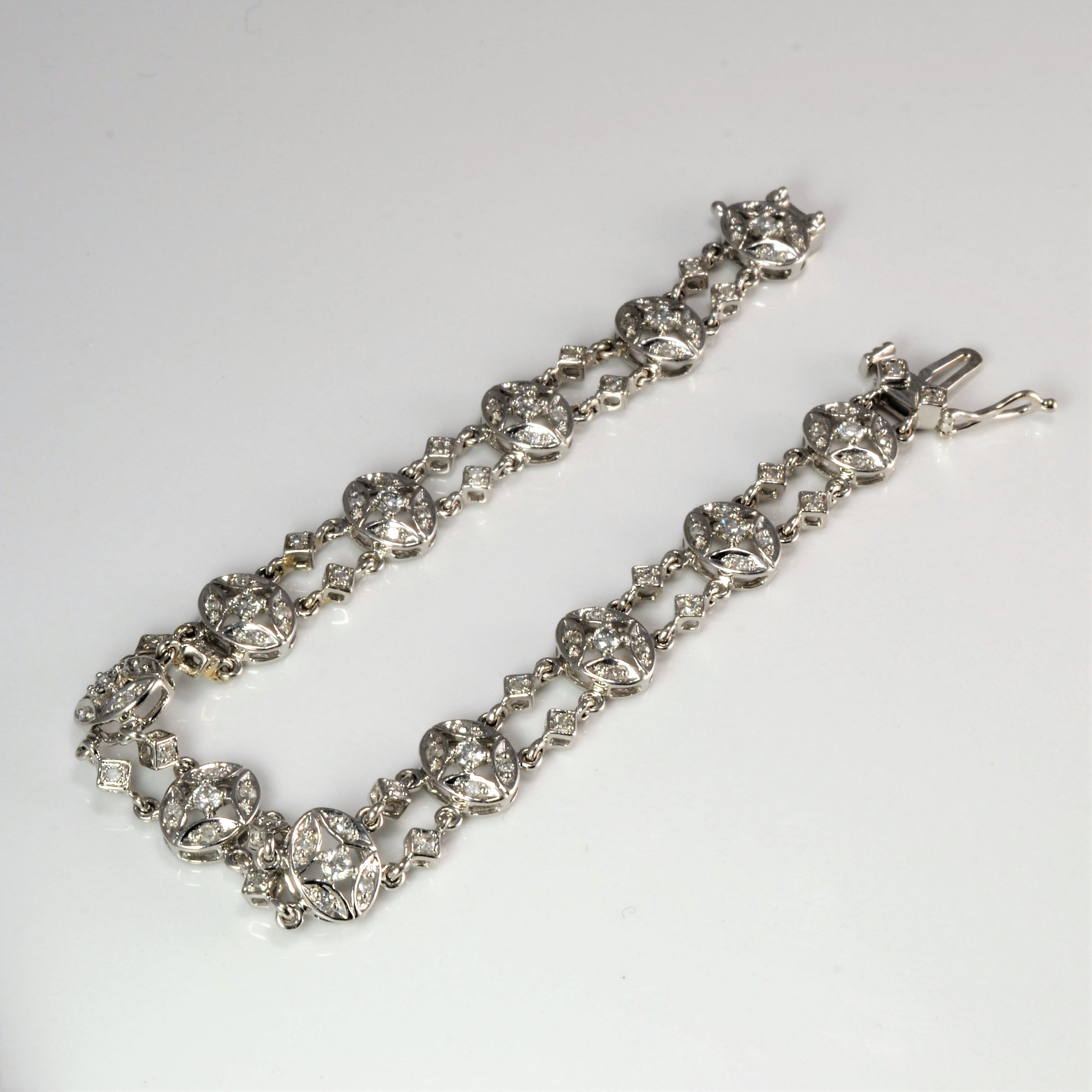 Filigree Diamond Chain Bracelet | 1.20 ctw, 7''|