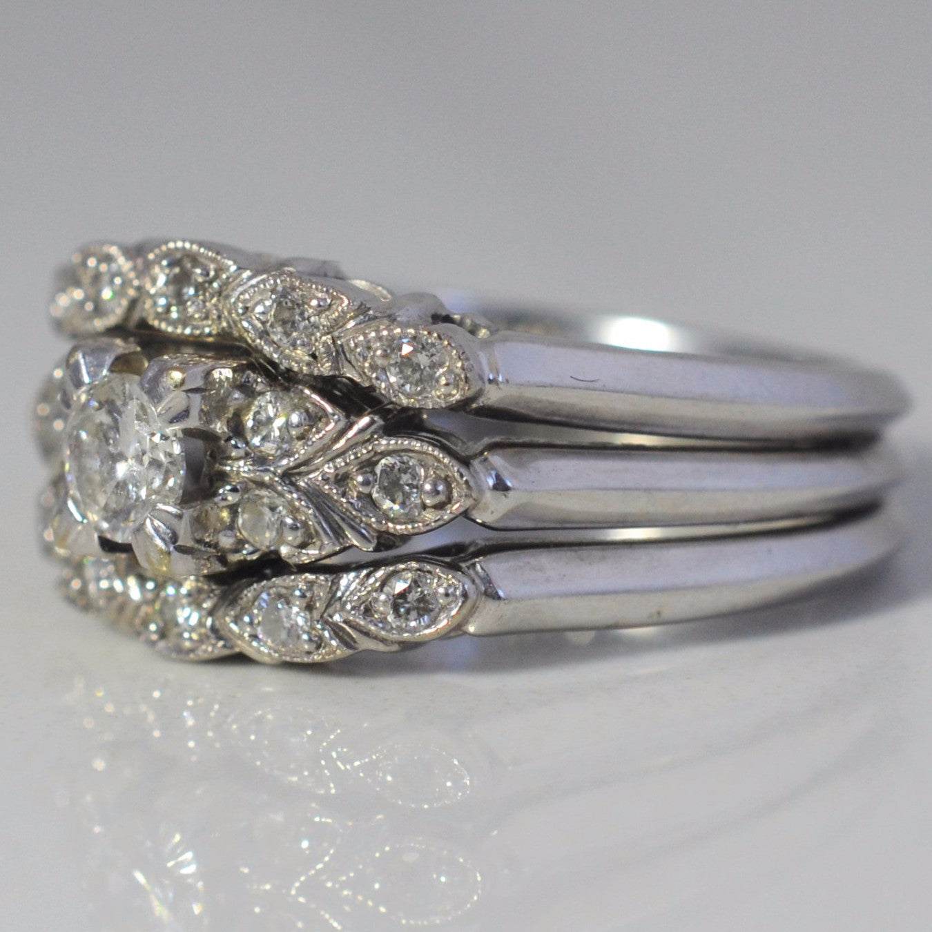 Soldered Milgrain Detail Diamond Wedding Set | 0.36 ctw, SZ 6.5 |