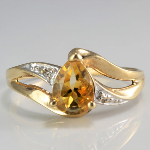Bypass Citrine & Diamond Ring | SZ 7 |