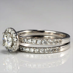 Elegant Modern Halo Engagement Ring With Matching Band | 1.25 ctw, SZ 7 |
