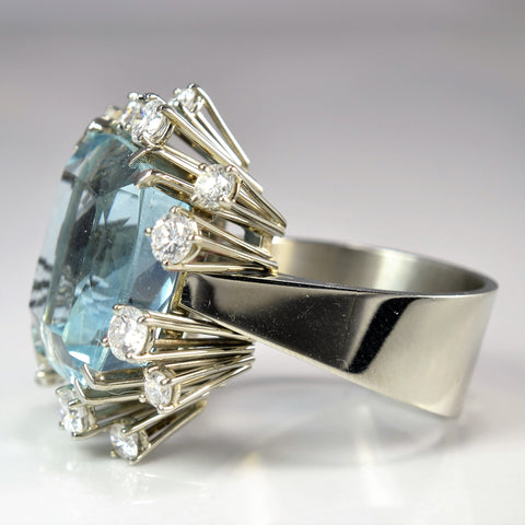 Brilliant Aquamarine & Diamond Ring | 1.50 ctw, SZ 8.75 |