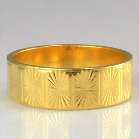 22K Yellow Gold Vintage Patterned Wedding Band | SZ 6.5 |