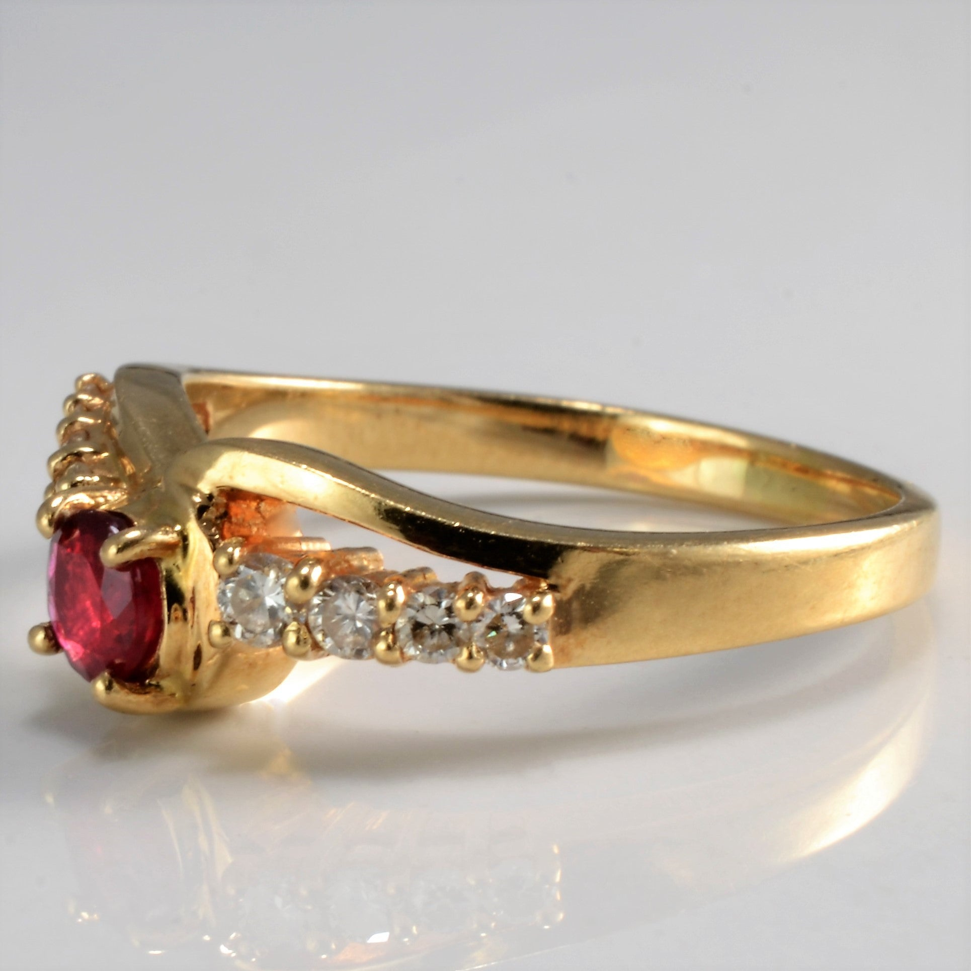 Bypass Ruby & Diamond Engagement Ring | 0.15 ctw, SZ 5.75 |
