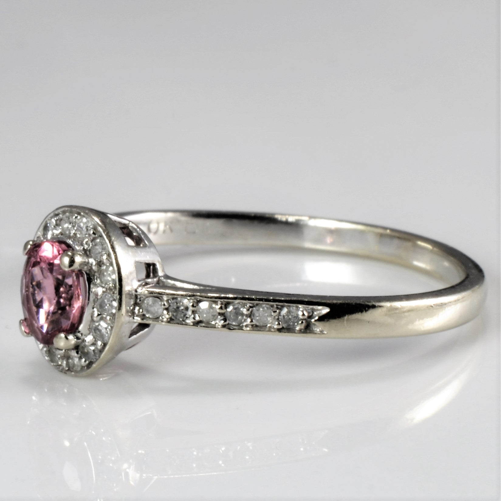 Tourmaline & Diamond Halo Ring | 0.08 ctw, SZ 9.5 |