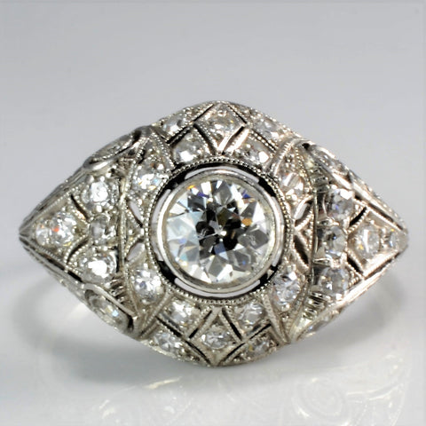 Beautiful Art Deco Diamond Engagement Ring | 0.76 ctw, SZ 7 |