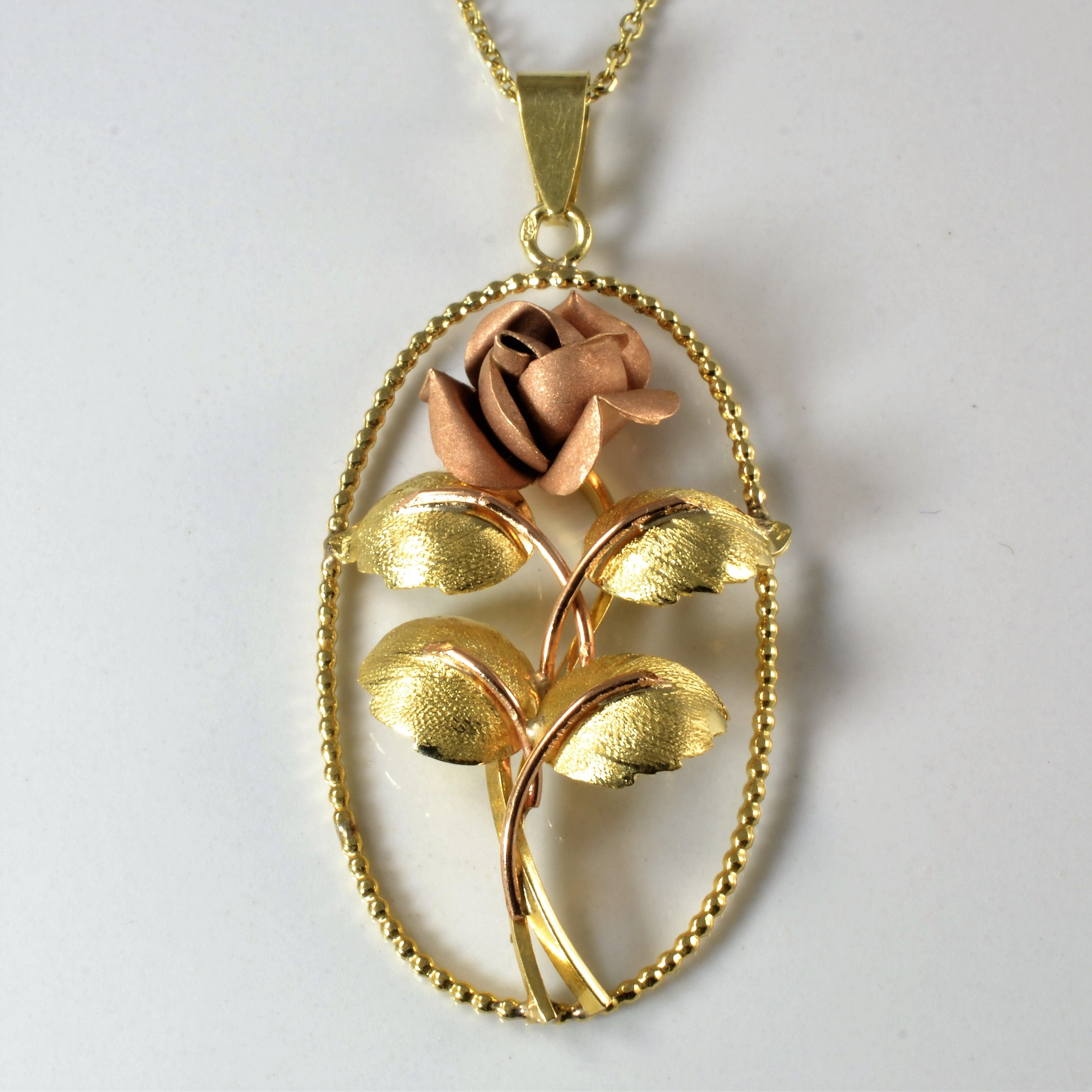 Two Tone Gold Rose Pendant Necklace | 19"