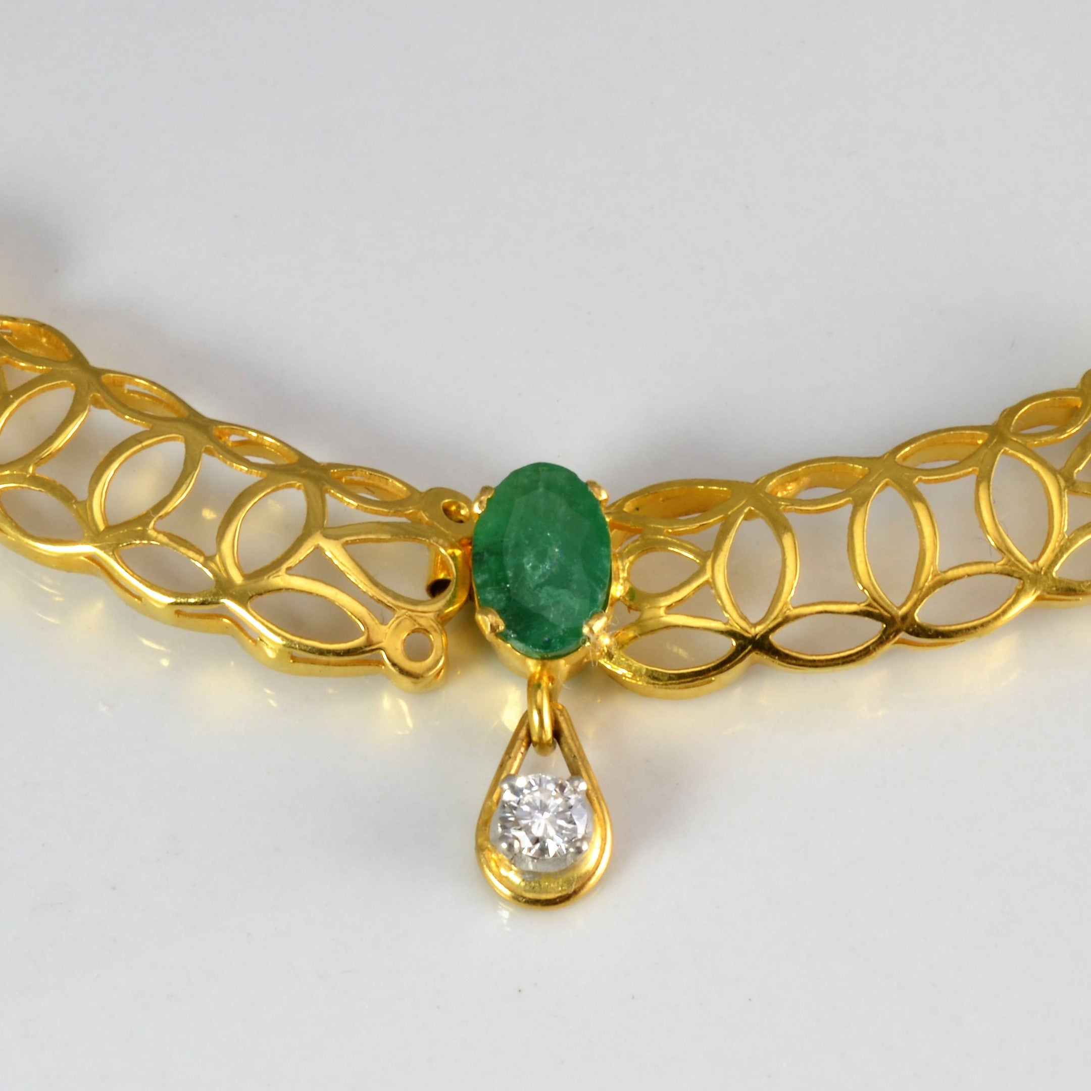 Emerald & Diamond Filigree Necklace | 0.85ctw, 7.00ctw | 16''|