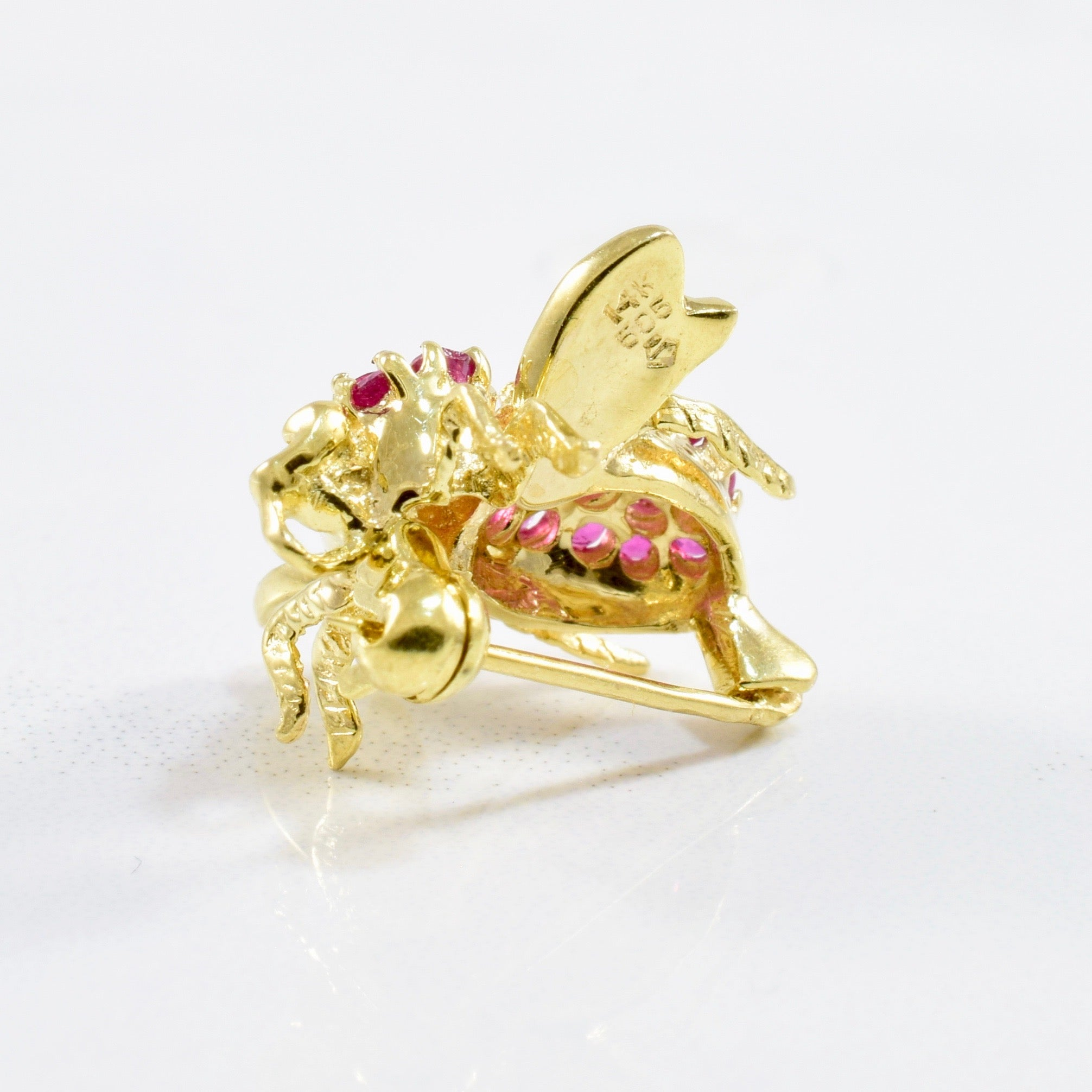Ruby Cluster Bee Brooch | 0.50ctw