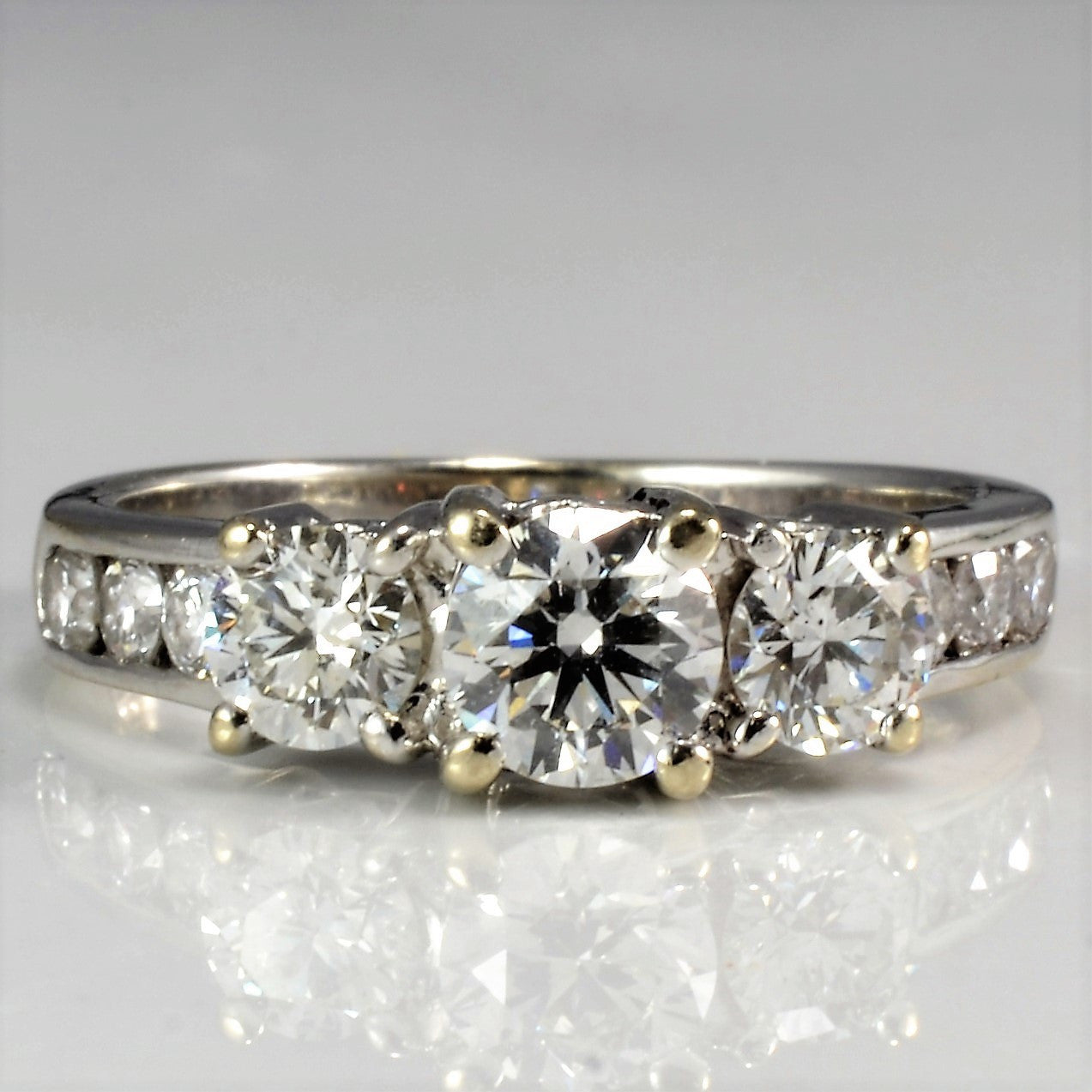 Three Stone Heart Detailed Engagement Ring | 0.91 ctw, SZ 4.25 |