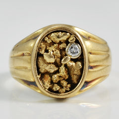 Gold Nugget Signet Style Ring | 0.05 ct, SZ 8.75 |