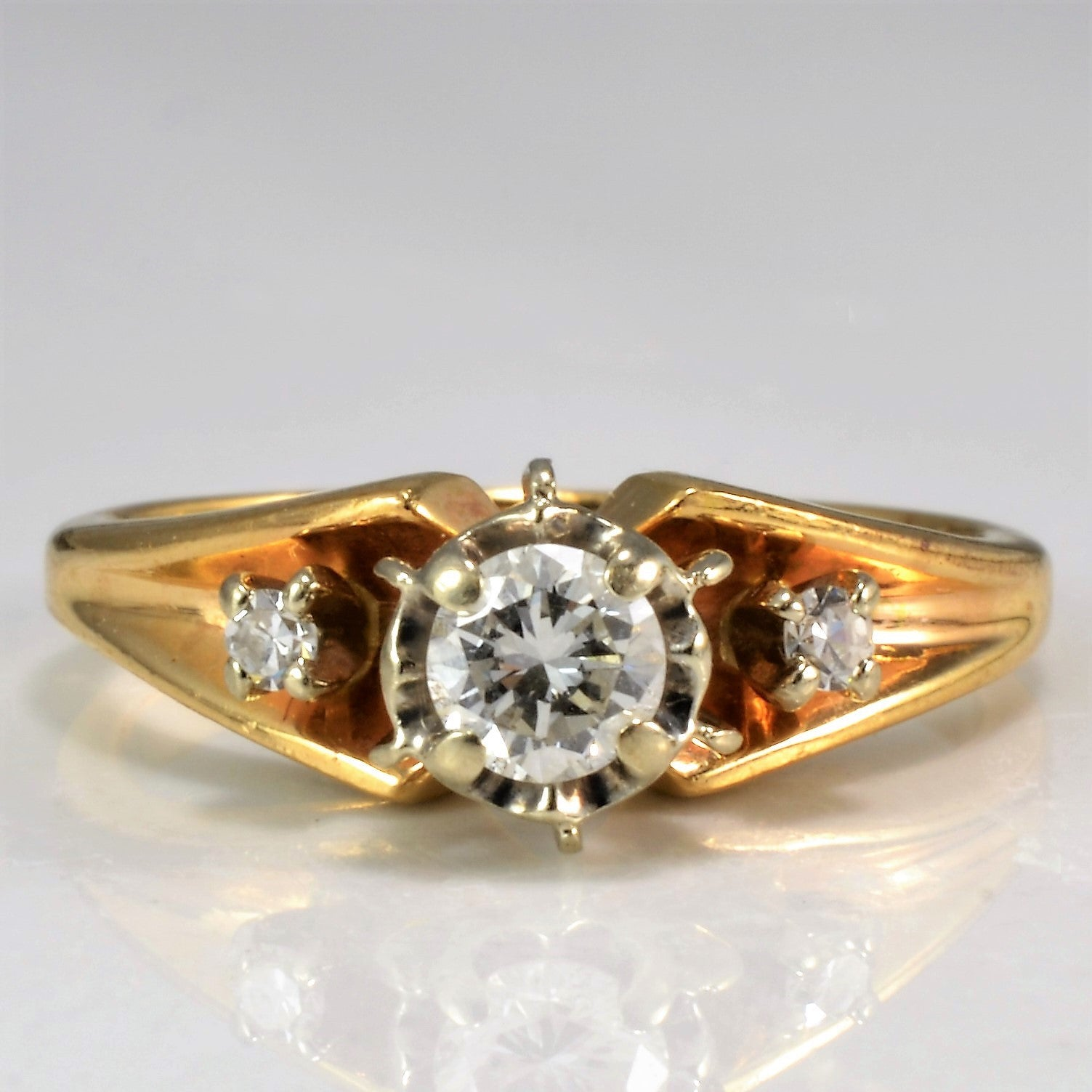 Petite High Set Three Stone Diamond Ring | 0.21 ctw, SZ 3.5 |