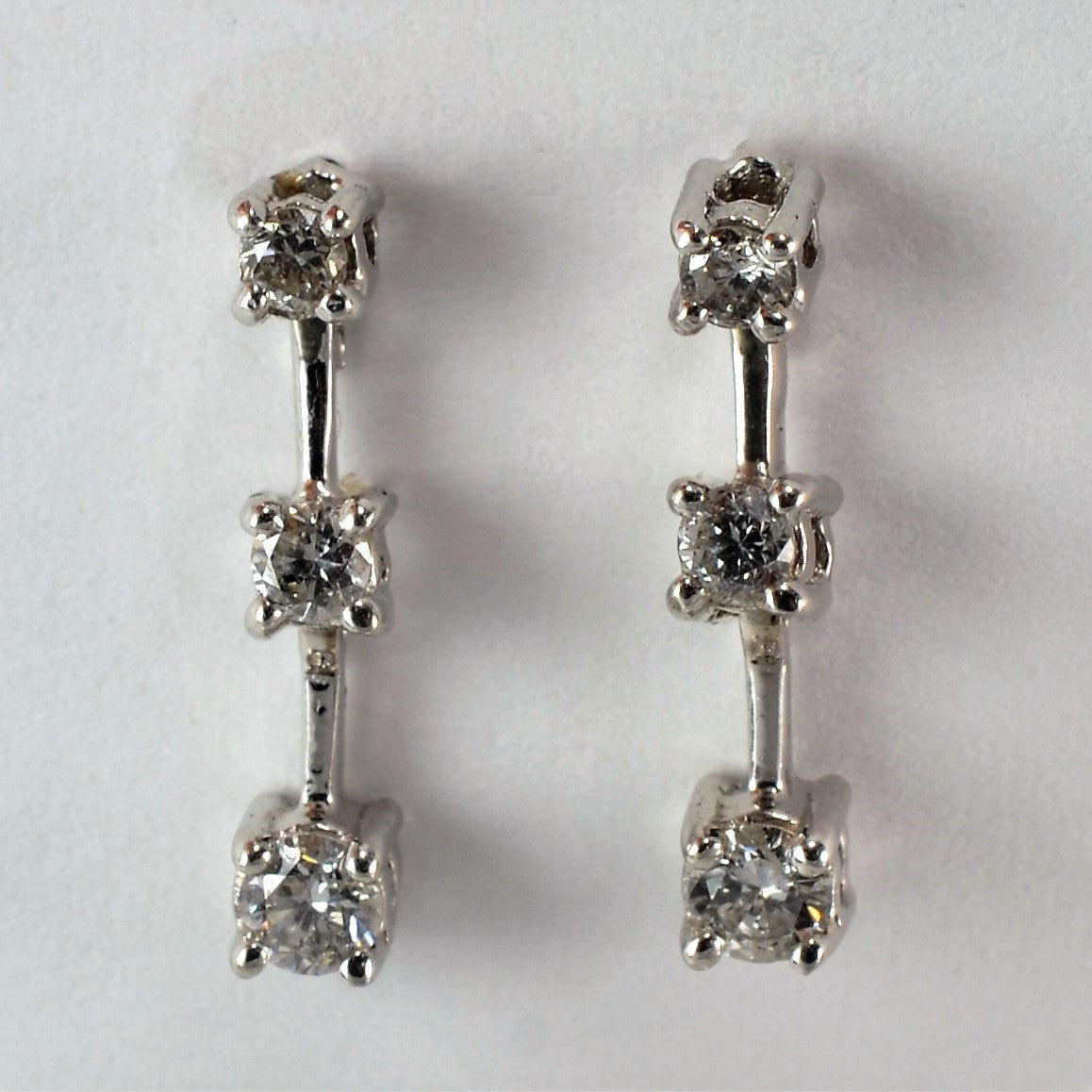 white product drop gold long diamond stud simulated earrings