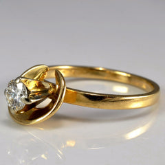 Golden Half Halo Solitaire Engagement Ring | 0.21ct | SZ 5.25 |