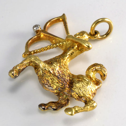 18K Gold Centaur & Arrow Diamond Pendant