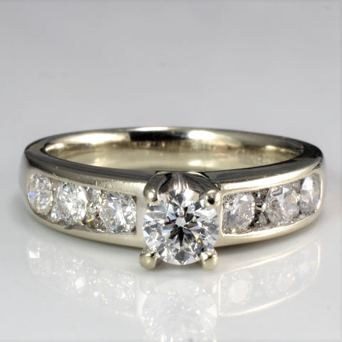 Classic Side Stone Solitaire Engagement Ring | 0.88 ctw, SZ 5.75 |