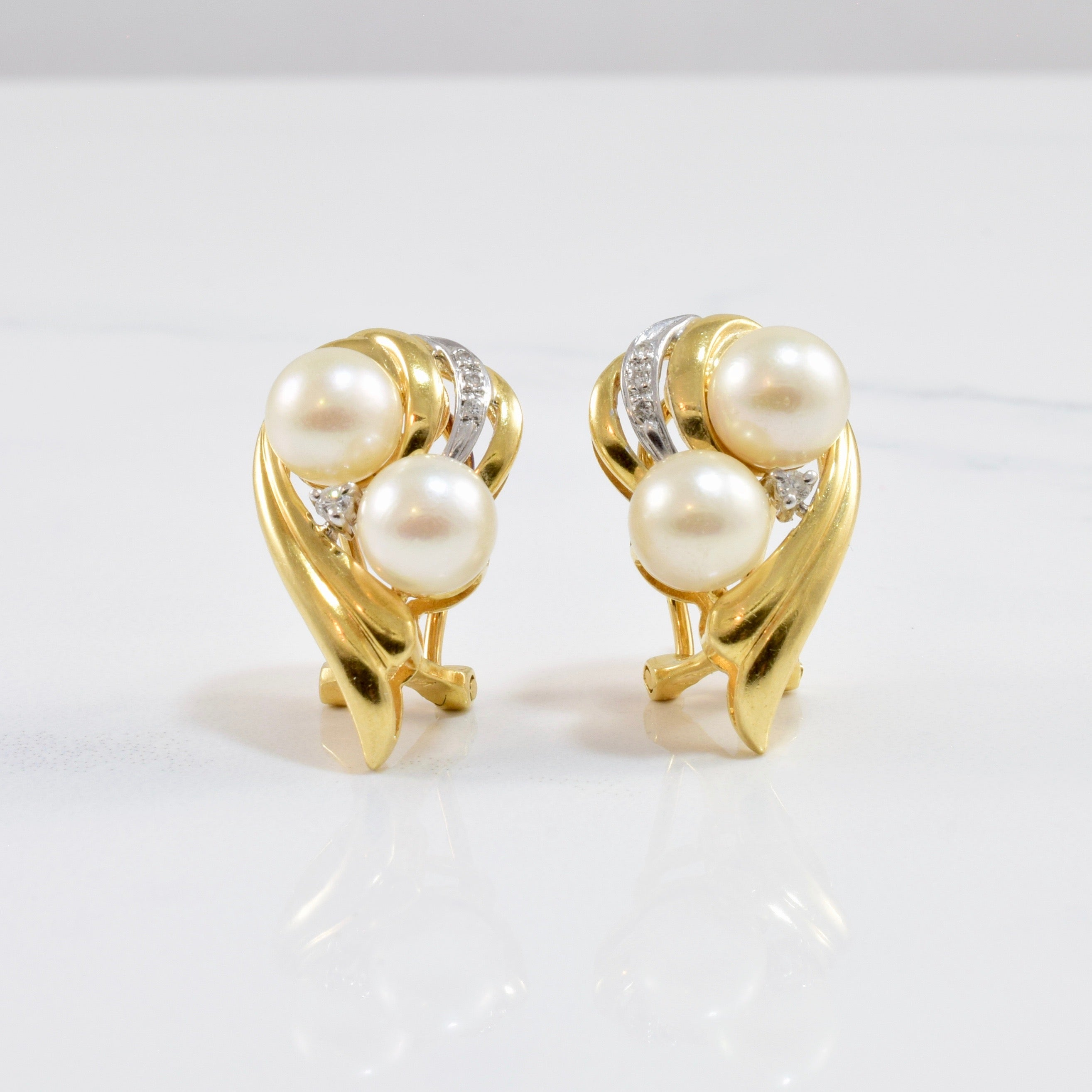 Pearl and Diamond Drop Stud Earring | 0.06 ctw |