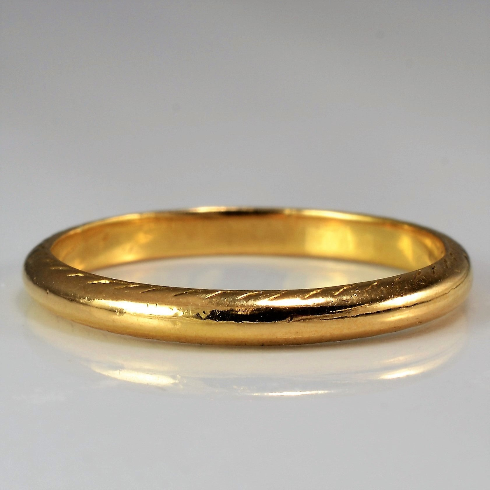 Victorian 22K Band With Detailed Edging Circa 1859 | SZ 6.75 |