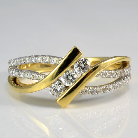 Channel Set Diamond Bypass Ring | 0.50 ctw, SZ 7.25 |