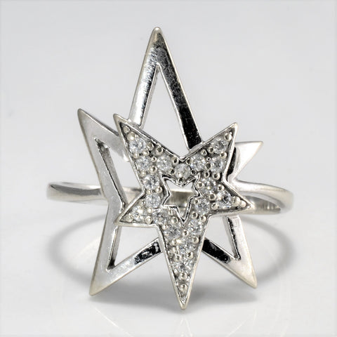 10K Gold Diamond Star Shape Ring | 0.09 ctw, SZ 7.25 |