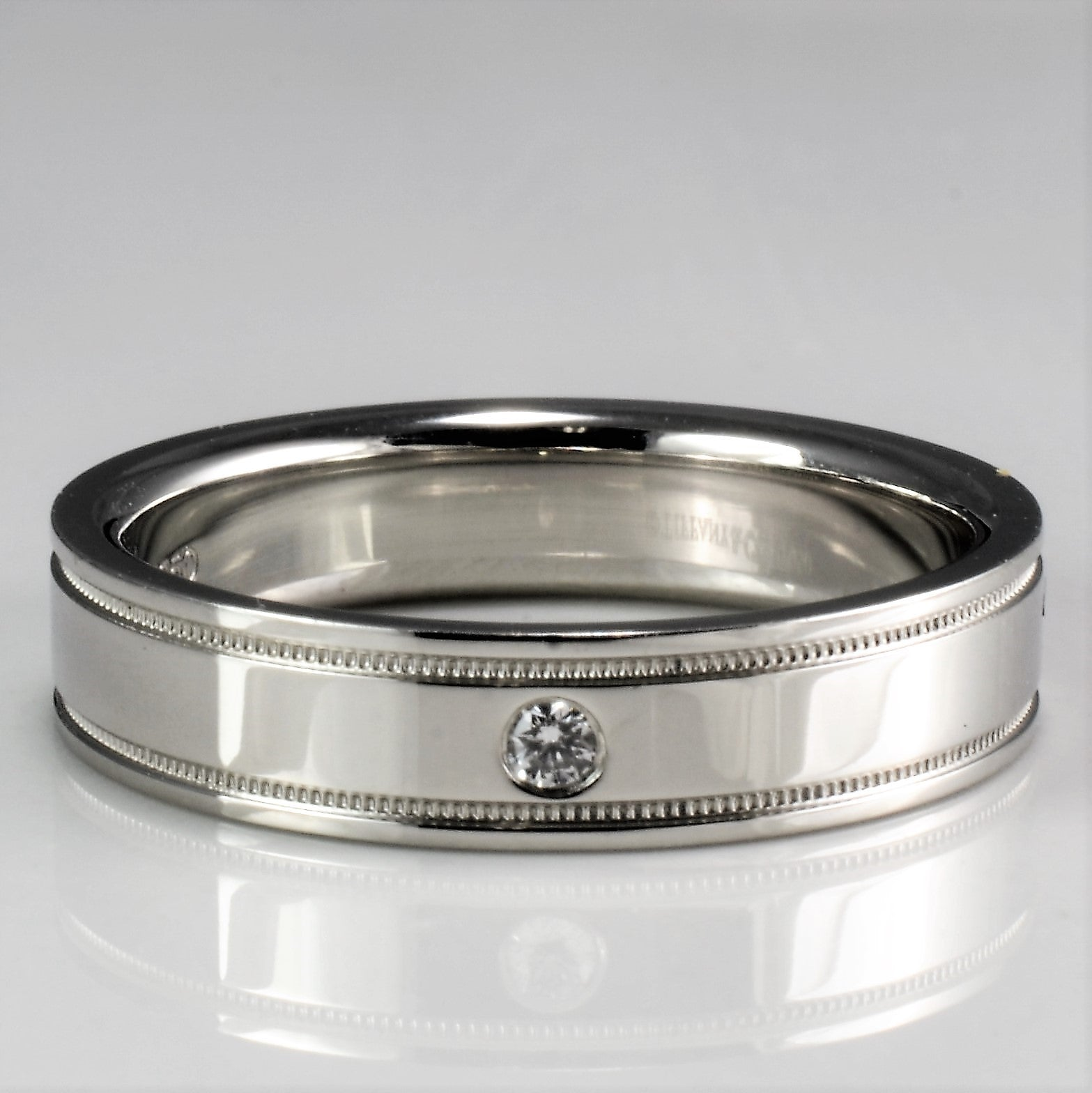 wedding classic with milgrain accents rings bands sylvie product main platinum band