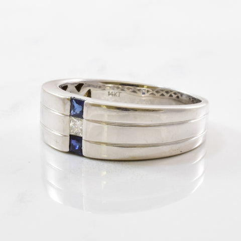 Flush Set Diamond & Sapphire Band | 0.09ct, 0.20ctw | SZ 10.5 |