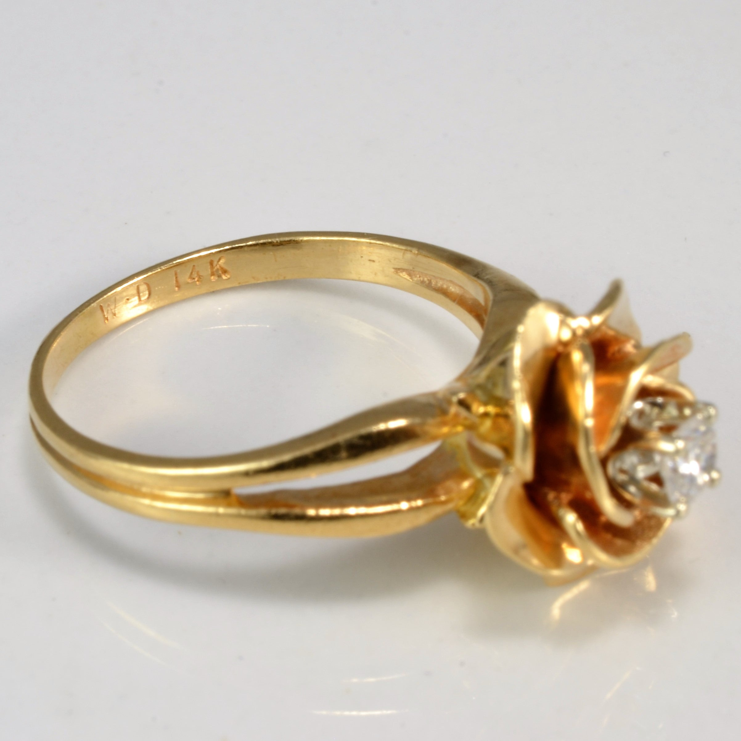 Solitaire Diamond Flower Design Ring | 0.09 ct, SZ 4.25 |