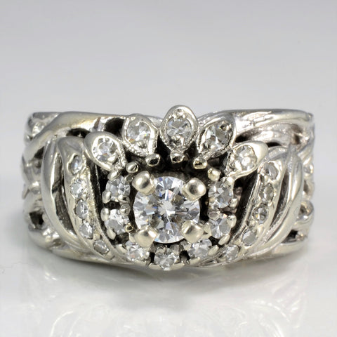 White Gold Filigree Diamond Engagement Ring | 0.56 ctw, SZ 7.75 |