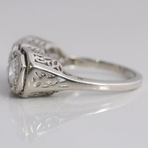 Art Deco Era Three Stone Platinum Engagement Ring | 1.86 ctw, SZ 6 |