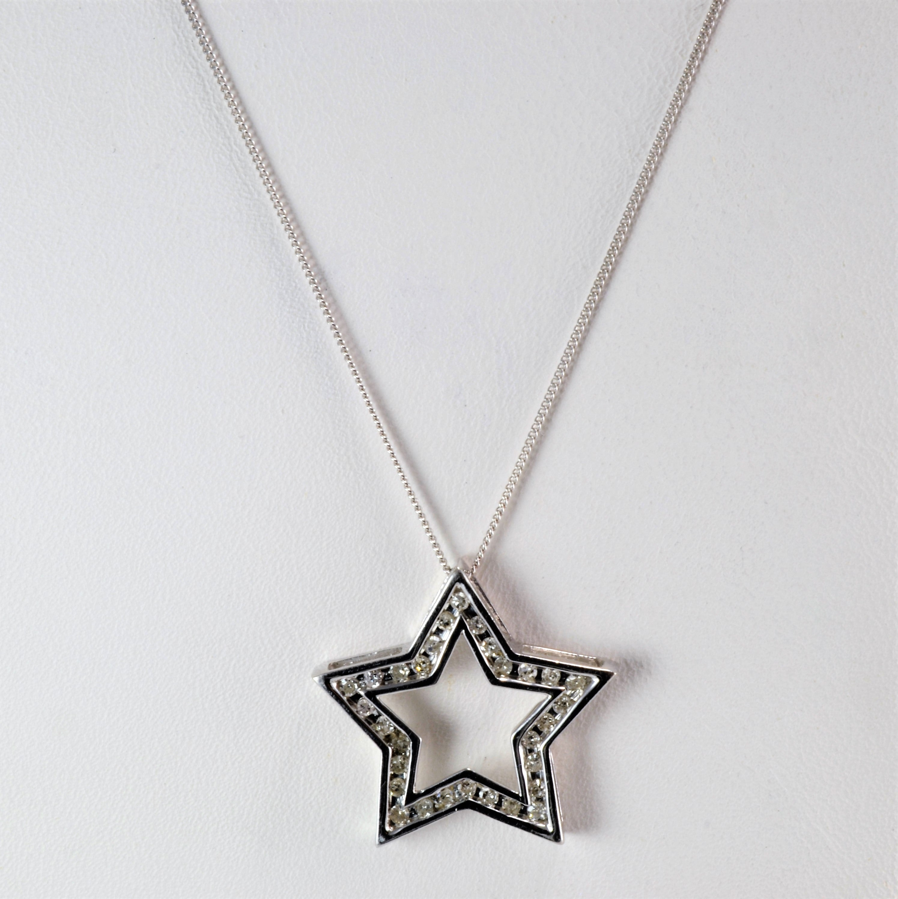 Channel diamond star pendant necklace 030 ctw 17 100 ways channel diamond star pendant necklace 030 ctw 17 aloadofball Choice Image