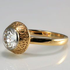 Gold Halo Old European Diamond Engagement Ring  | 0.96 ct, SZ 3 |
