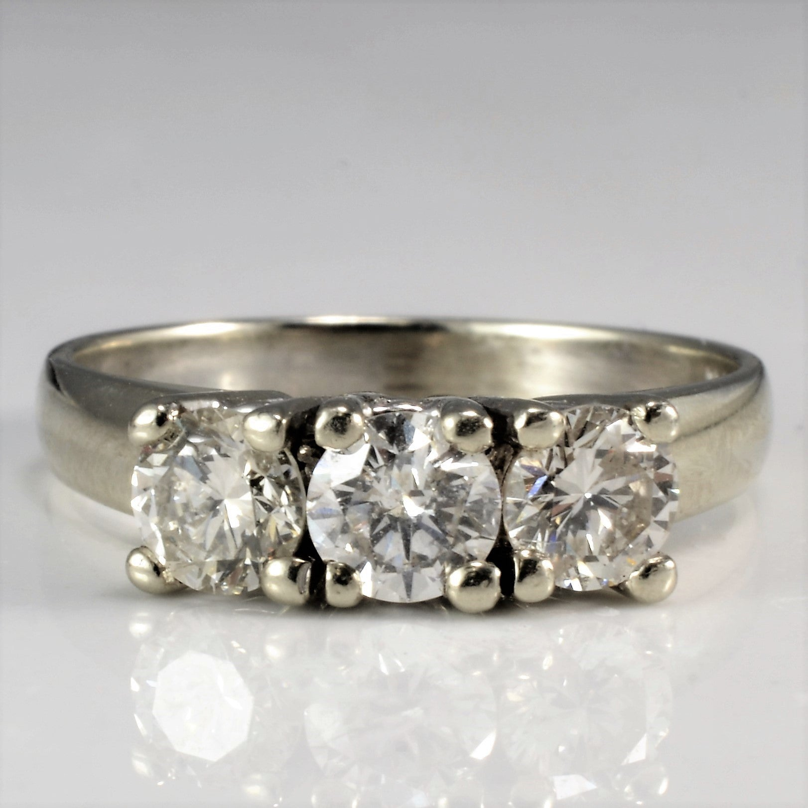 Classic Three Stone Engagement Ring | 0.88 ctw, SZ 6.75 |