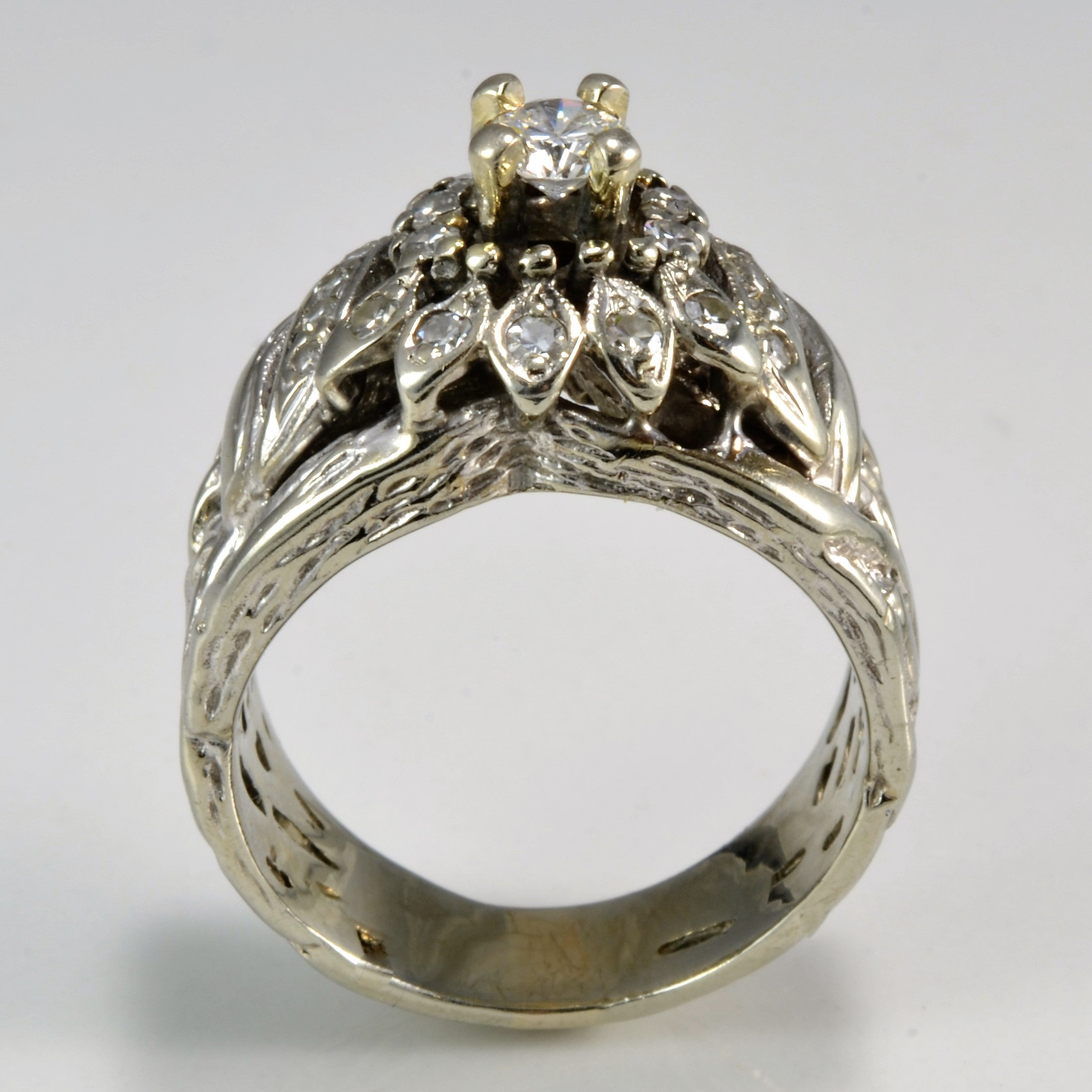Retro Era Filigree Diamond Engagement Ring | 0.56 ctw, SZ 7.75 |