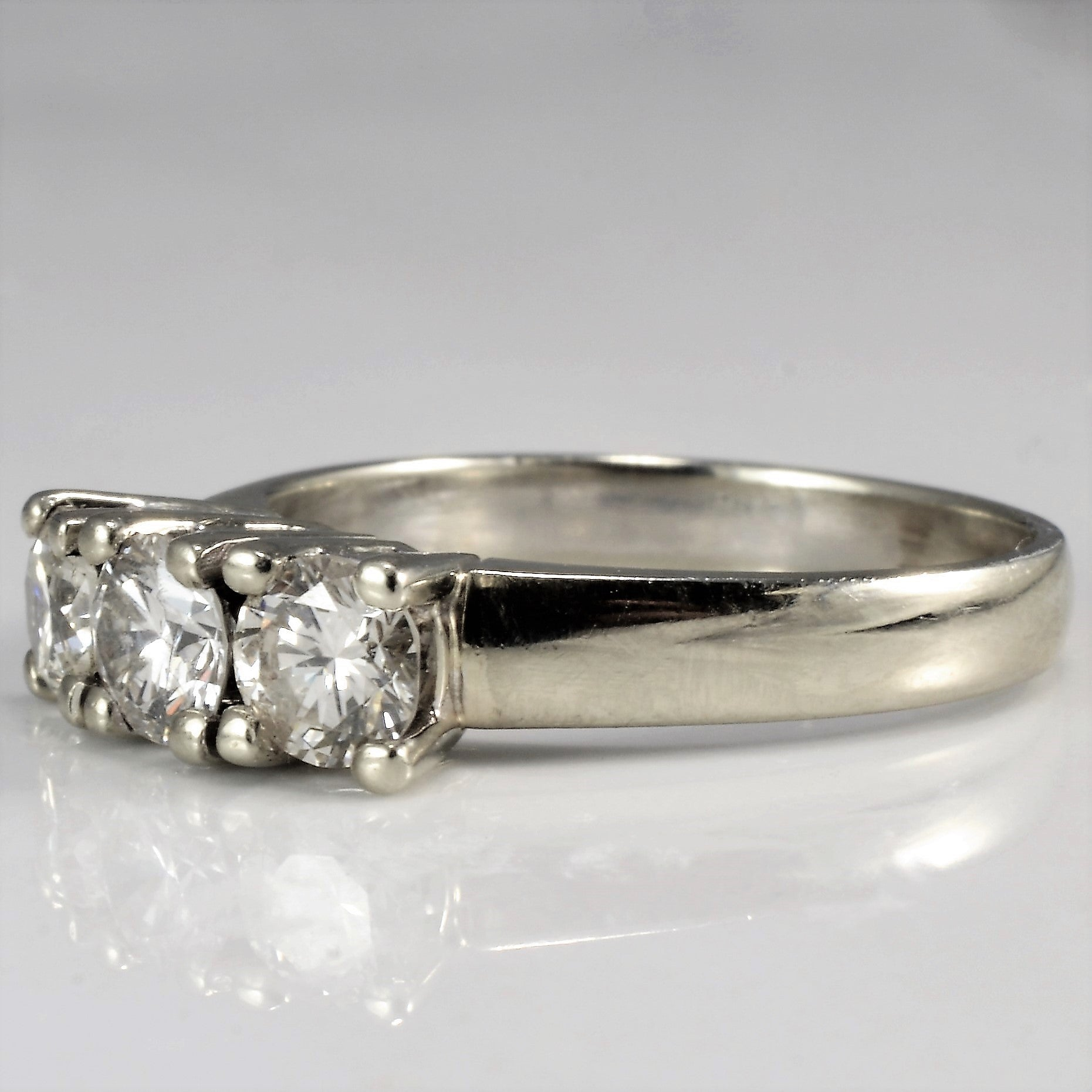 Simple Three Stone Engagement Ring | 0.88 ctw, SZ 6.75 |