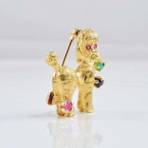 Gold Poodle Brooch with Coloured Stones